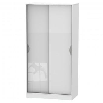 Sliding Wardrobe Double Camden White CAM110WGW by Welcome Furniture