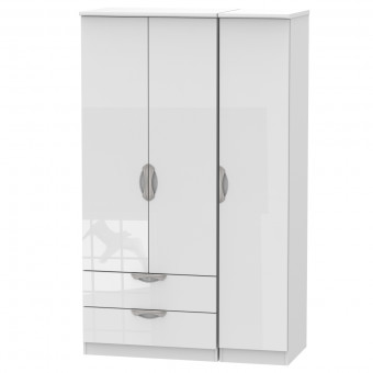 Triple Wardrobe with Drawers Camden White CAM131WGW by Welcome Furniture
