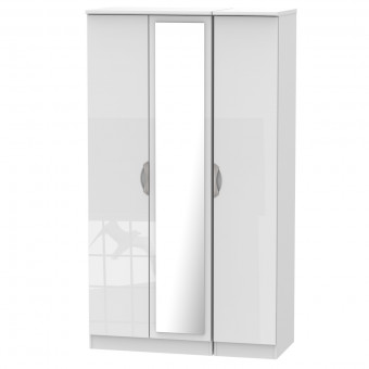 Tall Mirror Wardrobe 3 Door Camden White CAM147WGW by Welcome Furniture