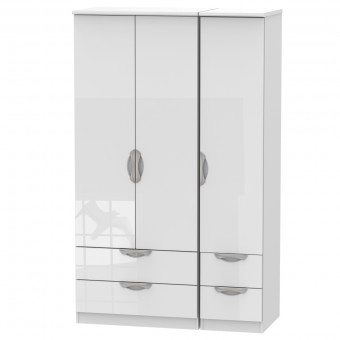Triple Wardrobe with Drawers Camden White CAM151WGW by Welcome Furniture