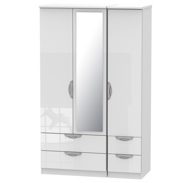 Assembled Mirror Wardrobe 3 Door with Drawers Camden White CAM152WGW by Welcome Furniture