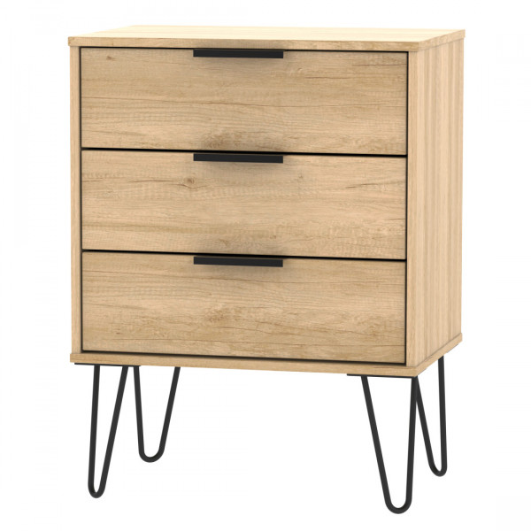 Chest of Drawers 3 Drawer Midi Nebraska Oak Hong Kong Bedroom Storage Chest HKC023NBNB